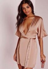 BNWT Missguided Nude Pink Kimono Belt Wrap Dress Size 14 Plunge Night Out Party