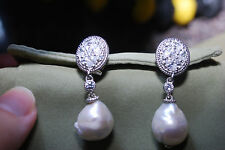 NEW JUDITH RIPKA DIAMONIQUE & PEARL DROP EARRINGS