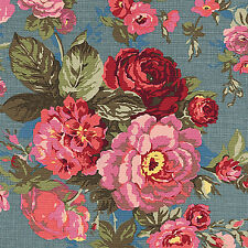 CANVAS HEAVY COTTON UPHOLSTERY CURTAIN TOTE FABRIC ANTIQUE FLORAL ROSE BLUE 44'W