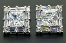 Sterling Silver Princess Baguette Prong Art Deco Vintage Diamond Studs Earrings
