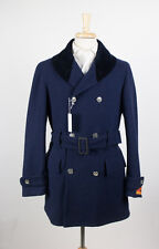 NWT. RING JACKET JAPAN Navy Blue Camel Blend DB Coat Jacket Size Small $1295