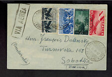 1947 Palermo Italy Cover to Sobotka Czechoslovakia Airmail