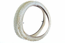 PAIR (2) 18 x 1.75 ALL WHITE KIDS MTB BMX BIKE KNOBBLY TYRES WITH TUBES SOILED
