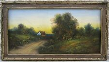 ANTIQUE VICTORIAN AMERICAN IMPRESSIONIST COUNTRY PRIMITIVE LAKE OCEAN PAINTING
