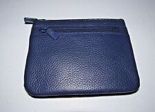 BUXTON NAVY BLUE LARGE GENUINE LEATHER EXTERIOR ID COIN CARD CASE PURSE