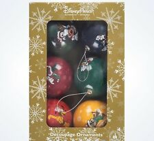 Disney Parks Mickey & Friends Christmas Decoupage Ball Ornament Set of 6 New