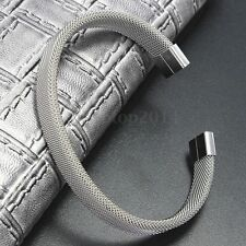 Grey Silver Men Women  Modern Stainless Steel Mesh Cuff Bangle Bracelet Gift