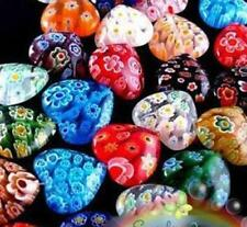 100pcs Shining Heart Millefiori Glass Craft Beads 8mm Multi-Color Spacer Beads