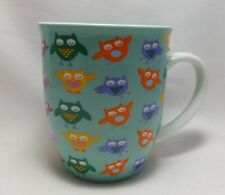 Cute Owls Coffee Mug Cup Creative Tops 14 oz Multi Color Teal Fun Mouth New