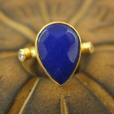 Handmade Hammered Designer Drop Sapphire Ring 24K Gold Over 925K Sterling Silver