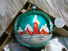Vtg West Germany Glass CHURCH w TALL STEEPLE & HOUSES Christmas ORNAMENT Painted