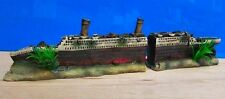 Titanic Boat Ship Wreck 2 Part Ornament Aquarium Fish Tank New
