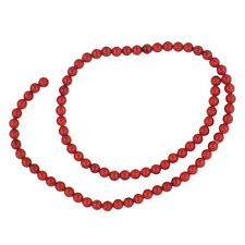 "RED SEA BAMBOO CORAL  5MM ROUND BEADS  15""     AA+"