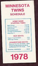 1978 MINNESOTA TWINS BASEBALL POCKET SCHEDULE