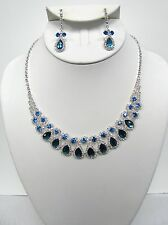 Silver Plated Blue Rhinestone Crystal Necklace Set # 14795 Wedding Prom