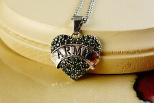 US ARMY GREEN HEART RHINESTONE  PENDANT WITH SILVER GIFT NECKLACE
