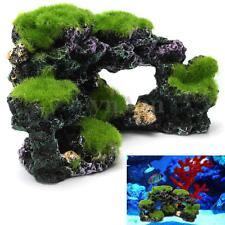 Aquarium Mountain Rockery Coral Reef Rock Cave Moss Fish Tank Ornament Decor NEW