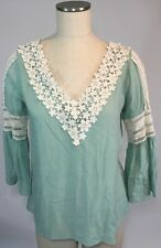 Entro Boho CHIC Lace Tunic Top Shirt Green Sz M Bell Sleeve Blouse V-neck Flowy