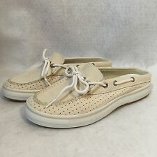 NEW Sperry Top-Sider Women's Bone Beige Leather Anchor Slide Boat Shoes Sz 6 M