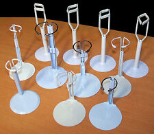 "Lot of 11 White Doll Stands - Fit Slim Dolls up to 14"" - EUC"