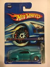 Hot Wheels Tail Dragger #100 Red Lines #5 of 5 2005 Turquoise 1941 Ford Coupe