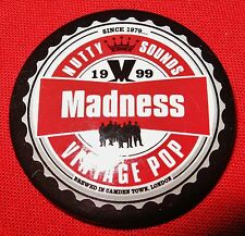 """MADNESS - OFFICIAL 1999 """"BOTTLE TOP"""" TOUR BADGE - SUGGS SKA TWO 2 TONE STUFF"""