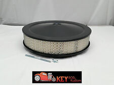 """14"""" round black air cleaner assembly kit recessed drop base 3"""" filter SBC BBC"""