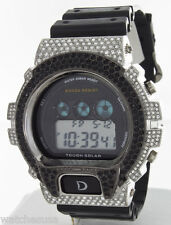 King Master Unisex Silver-tone Cz's Stones Case Black Rubber Band Digital Watch