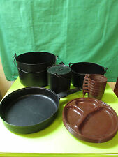 VINTAGE STACKABLE CAMPING POT AND PANS -F6
