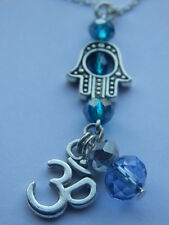 Hand of Hamsa Necklace, OM Yoga Pendant, Turquoise, Hanukkah, 925 Silver Chain