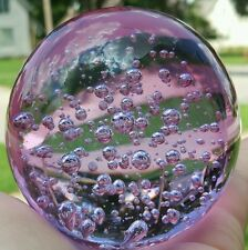 Purple Lavender Glass Round Crystal Ball Paper Weight Controlled Air Bubbles 3""