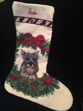Schnauzer Dog Wreath Wool Needlepoint Christmas Stocking LULU