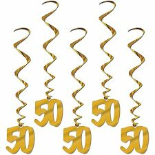 Gold 50th Whirls (5pc pkg)  BIRTHDAY OR ANNIVERSARY DECORATION