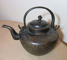 antique hand made tooled Chinese bronze copper teapot pot kettle metalware