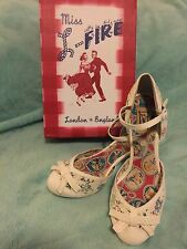 "Miss L Fire Shoes ""Scarlet"" 8.5 39 White Cuban Heel Ankle Strap 40s Style"