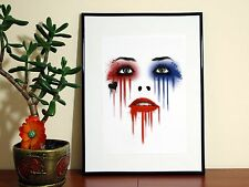 Harley Quinn Red Blue Paint - A4 Glossy Poster - FREE Shipping