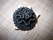 ANTIQUE BLACK FLOWER AND WHITE LEAVES CELLULOID FLOWER BROOCH