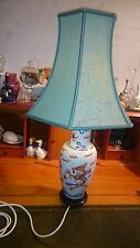 Large Chinese Hand Decorated Vase Table Lamp Wooden Plinth & Pale Green Shade
