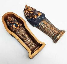 Ancient Egyptian King Tut Sarcophagus and Mummy Box Coffin Small Figurine Statue