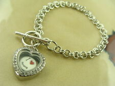 I LOVE NURSING NURSE CHARM IN 20MM HEART LOCKET w/SILVER TOGGLE CHAIN BRACELET