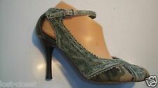 Naughty Monkey Green Camo Ankle Strap Pumps Heels Sandals Shoes Size 8.5 @cLOSeT