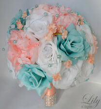 17pcs Wedding Bridal Bouquet Set Silk Flower Decoration Package AQUA PEACH