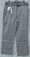 Being Casual - Grey Long Cargo Trousers With Belt - Rolls Up 3/4 - 14-16 - BNWT