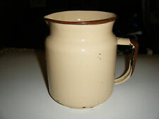 Vintage Beige & Brown Enamelware Spouted Pitcher w/Handle - Farmhouse Decor