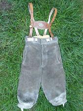 Trachten Kniebundlederhose grau Lederhosenträger braun Größe ca.128/140 Vintage