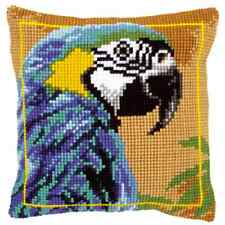 Blue Macaw Parrot - Large Holed Tapestry Cushion Kit/Printed Chunky Cross Stitch