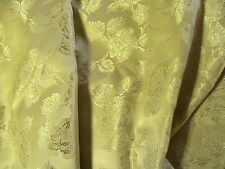 METALLIC GOLD FLOWERS & LEAVES SATIN BROCADE 100% quality sew fabric RARE~BTY