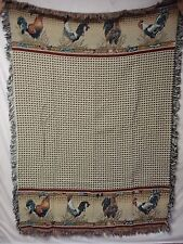USA Made NWOT Rooster Tapestry Throw Blanket Afghan #512