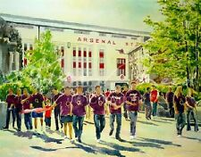 "ORIGINAL ALAN REED WATERCOLOUR ""Highbury Football Memories"" Arsenal FC PAINTING"