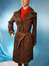 River Island Coat Denim Jeans Brown Belted UK8 Very good condition